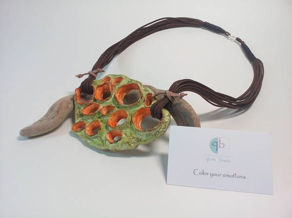 Artistic necklace Unique jewelry piece Unique design All day wear Clay jewelry