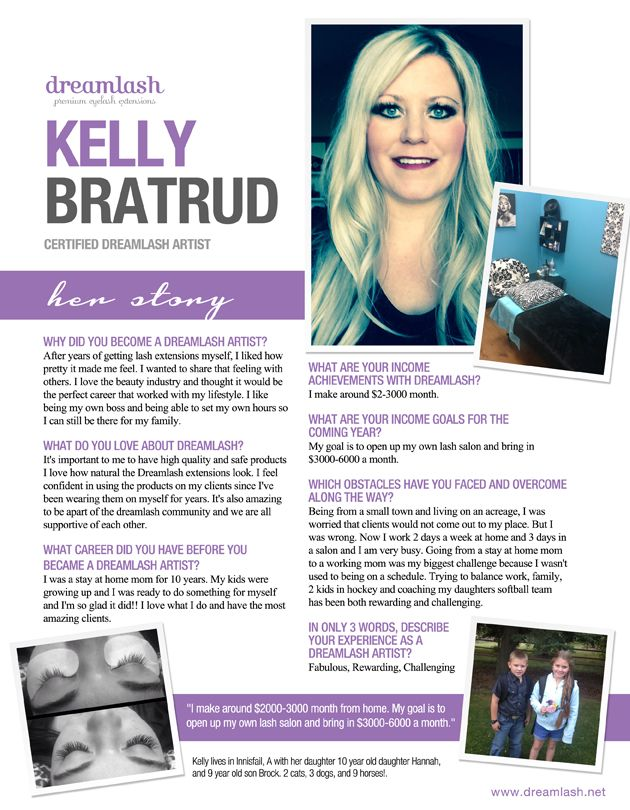 """Dreamlash Academy Eyelash Extension Star Kelly Bratrud. """"I make around $2,000-$3,000/month working from home. My goal is to open up my own lash salon and bring in $3,000-$6,000 per month."""