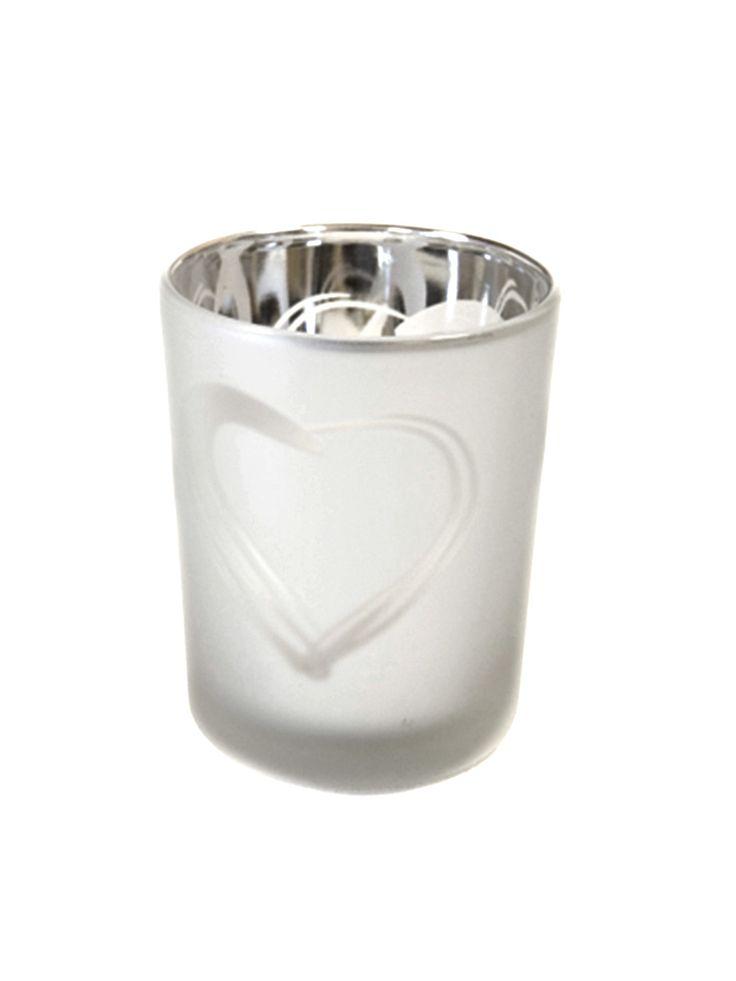 Porta candele in vetro smerigliato color argento con decorazione a cuore su VegaooParty, negozio di articoli per feste. Scopri il maggior catalogo di addobbi e decorazioni per feste del web,  sempre al miglior prezzo!