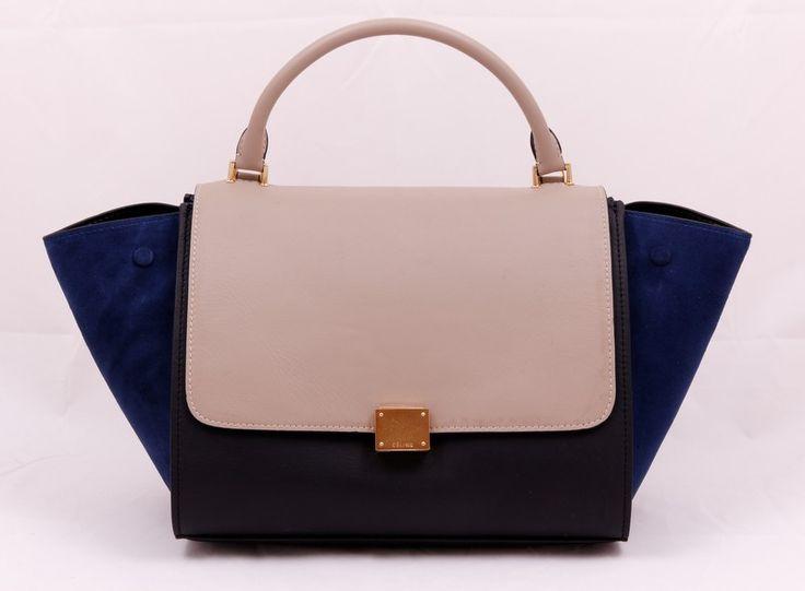 Сумка Celine (Селин) Trapeze bag кожаная, черная с бежевым с синим