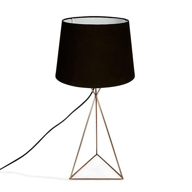 Lampe Sabrina À Métal Poser H56cm En Jour Noir Cuivre Abat Et DIYWH9E2