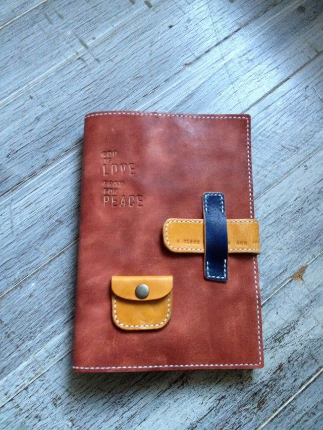 journal cover with tiny pocket --  手染めレザースケジュール帳