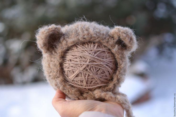 Купить Шапочка Медведь для фотосессии новорожденных коричневая - шапочка детская, шапочка для фотосессий, шапочка для новорожденных