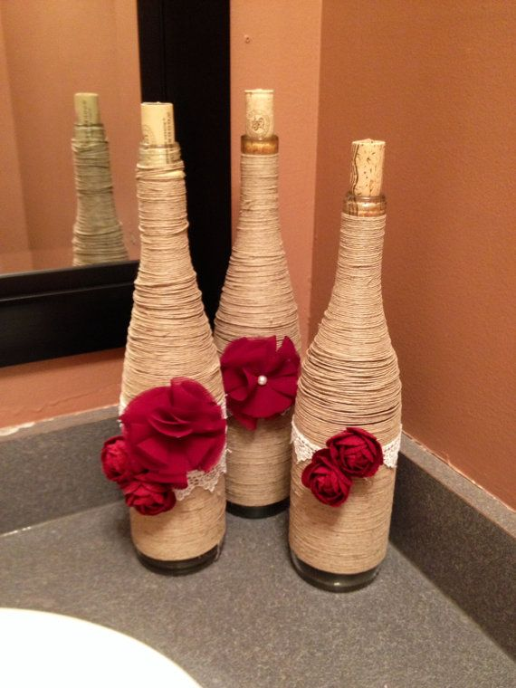 Set of 3 Rustic Twine Wrapped Wine Bottles by WOODworkinWithLove