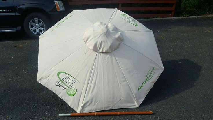 Bud Light lime Beer Patio Beach 6 FT Umbrella Wood poll | eBay