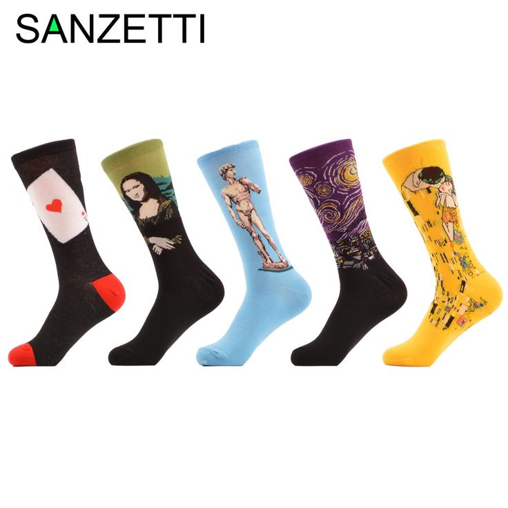 SANZETTI 5 pairs/lot Men's Funny Socks Poker Mona Lisa Klimt Combed Cotton Socks Casual Dress for Man Novelty Gift for men #Affiliate