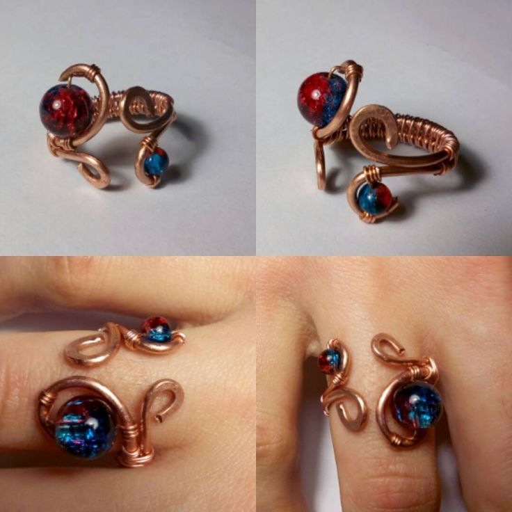 Anello in rame battuto con peline in vetro Per sapere il prezzo visitate la pagina facebook, https://www.facebook.com/creazionirame/ #anelli#rame#gioielli#artigianato#bijou#bijoux#ring#rings#ringsshop#perline#handmade