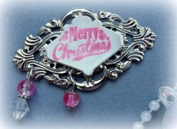 Silver and Pink Merry Christmas Charming Word | my2angels scrapbooking and craft supplies