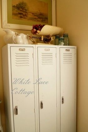 Metal Gym Lockers for a Mud Room--step-by-step directions on how to make old, dirty lockers into beautiful storage pieces in your mud room. via www.whitelacecottage.com