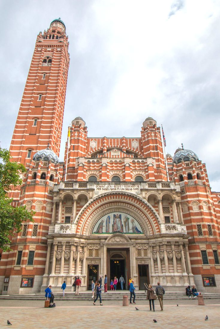 Westminster Cathedral / London, United Kingdom / The largest Catholic church in the UK, completed in 1903 was designed in neo-Byzantine style. Its terracotta and white lining together with the architectonic style make it look rather exotic. Be careful not to confuse it with Westminster Abbey which is located near the Palace of Westminster. This cathedral is famous for its mosaics which were left unfinished by the original architect John Bentley.
