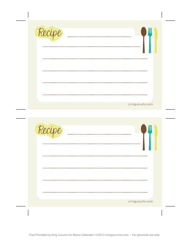 Free Printable Recipe Cards. #recipe