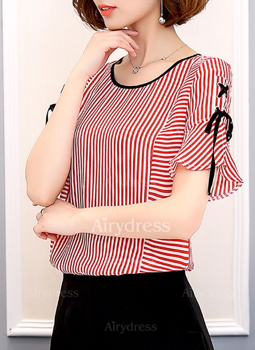 Raya Casuales Poliéster Cuello redondo Manga corta Camisas (1052941) @