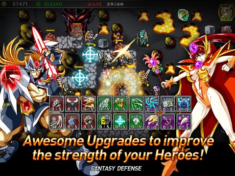 """Fantasy Defense: Fantasy Defense (iOS)- Help buxom badasses and their moving-tank male counterparts defend the gate from waves of attacking spirit dogs, nagas, mudmen, and whatnot. Robust RPG backend with upgrades for each unlockable hero and all troops under your command. Tower defense at its portable finest! """"The game so nice they named it twice."""" - My made-up promotional tagline."""