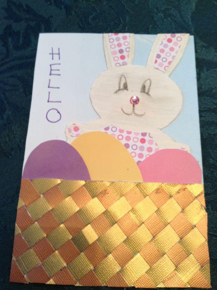 Easter Card. Weaved metallic paper to make basket.