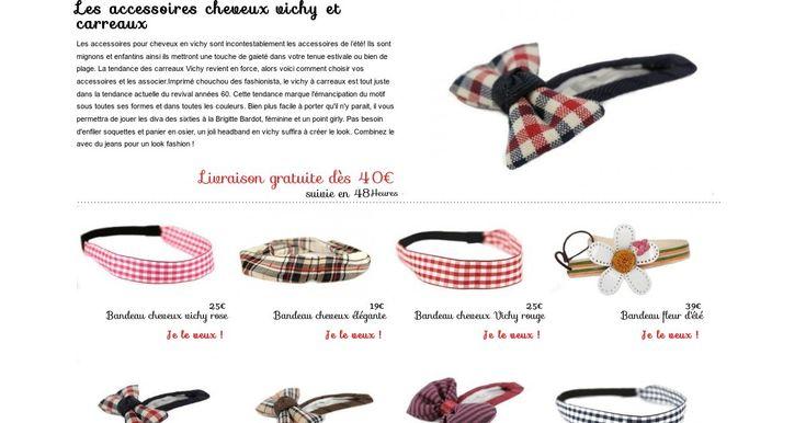 ♥ La sélection de headband, bandeau cheveu et pince cheveux aux motifs vichy et à grand et petits carreaux.