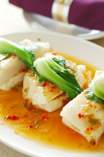 Chili Soy Sauce Steamed Fish -   8 oz whitefish filets (sea bass, cod, halibut, red snapper, or tilapia are all good) ½ cup water 3 tablespoons soy sauce 2 tablespoons sesame oil 2 tablespoons thinly sliced ginger ⅓ bok choy, chopped 1 teaspoon chopped cilantro leaves 3 minced garlic cloves ½ teaspoon chili powder 1 teaspoon red pepper flakes 1 tablespoons white sugar Salt and black pepper