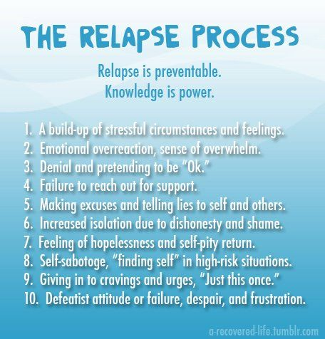 The relapse process. Be aware.