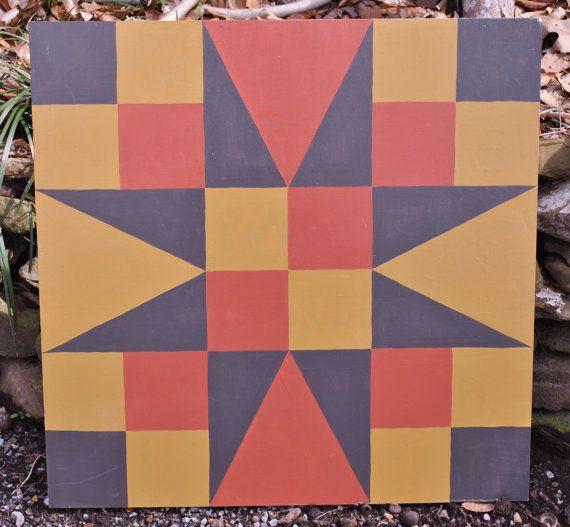 Coeur d'or 2 x 2 Grange Quilt carré peint par stellassweetheart