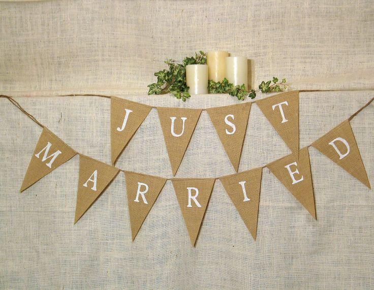 Just Married Banner Burlap Wedding Reception Decoration Shower Rustic Photo Prop