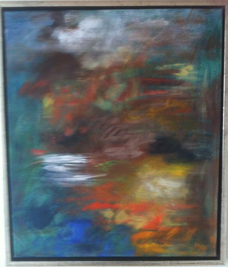 """Akryl maleri """" Stemning"""" udstillet og solgt i Smørum kulturhus"""