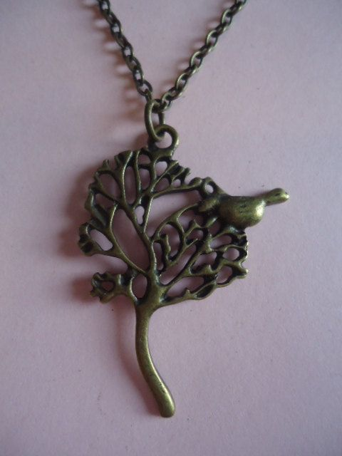 Bird in Tree Necklace by TallulahStack on Etsy, $10.00