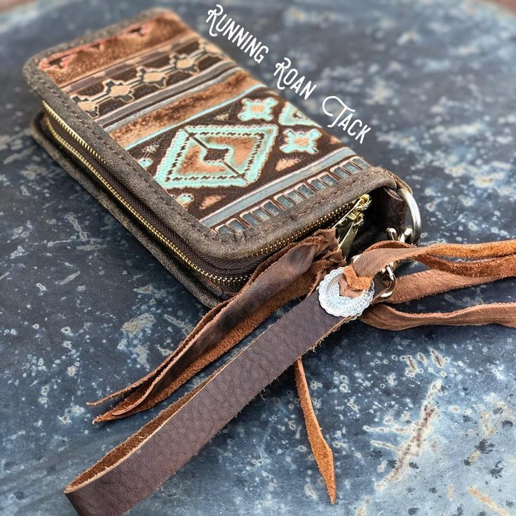 """The Pecos"" Double Zip Wallet Wristlet Clutch in T…"