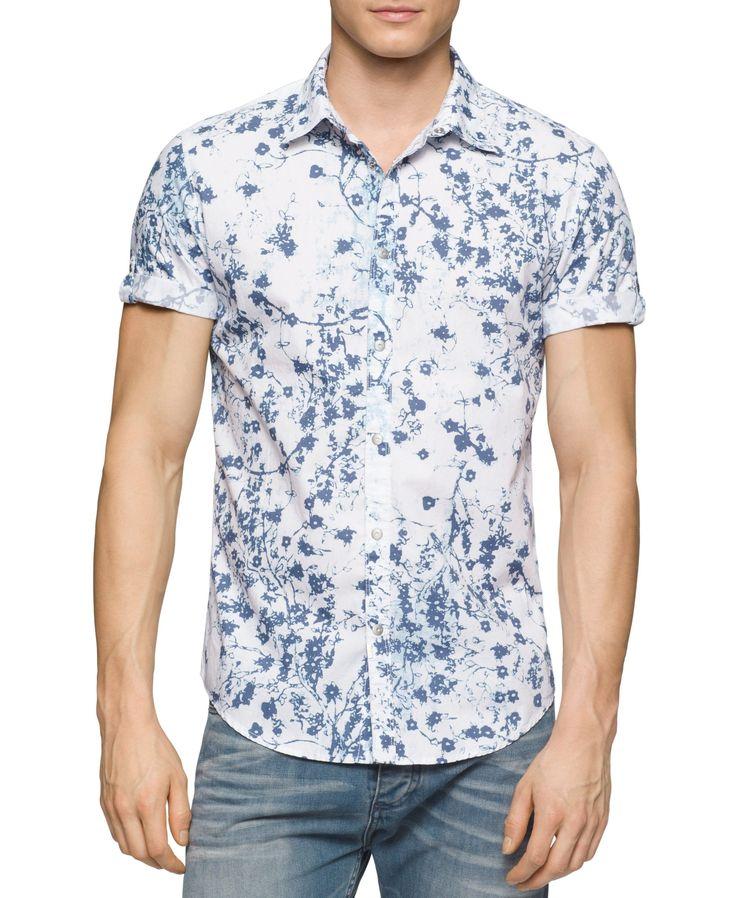 Calvin Klein Jeans Men's Botanical Print Button-Front Shirt - Casual  Button-Down Shirts - Men - Macy's