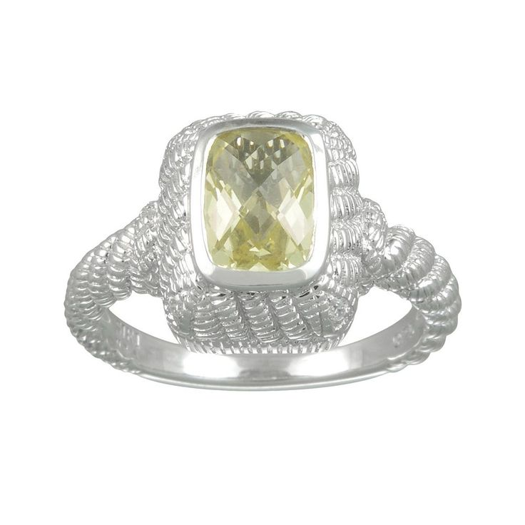 Siri USA by TJM Sterling Silver Lemon Quartz and Cubic Zirconia Textured Rectangle Frame Ring, Women's, Size: 9, Yellow