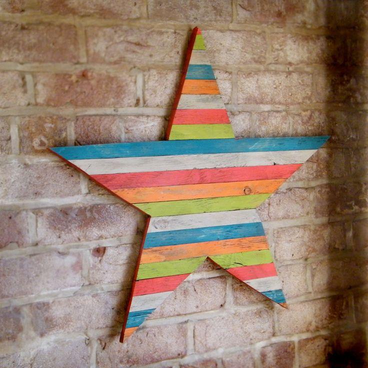 Wood Pallet Star Large Barn Star Wall Art Wooden Barnstar Wall Decor. colors!