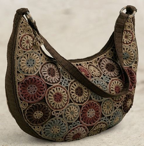 Brown flowered Thread Crochet Bag - no pattern.