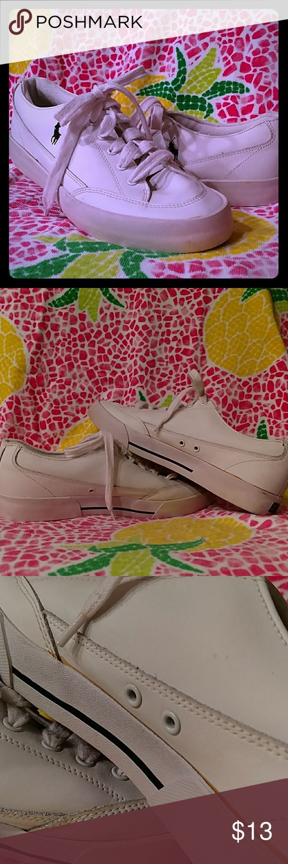 Men's Polo RL Leather Canvas Lace Up Wht 10.5 Throw Back Type of kix right here!  90s Polo Ralph Lauren leather canvas sneakers 10.5 Men's.  Solid pre-owned condition... Few marks/blemishes here and there but nothing admirers are noticing!  :)  Hit me up with additional questions!  Xo Polo Shoes Sneakers