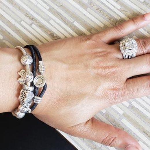 7212b59dee7a8 Black Double Leather Bracelet, Clear CZ | PANDORA Jewelry US | fun ...