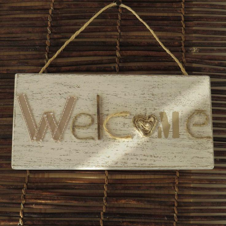 Targa segnaporta in legno con scritta welcome stile natural shabby di Atelierisy su Etsy