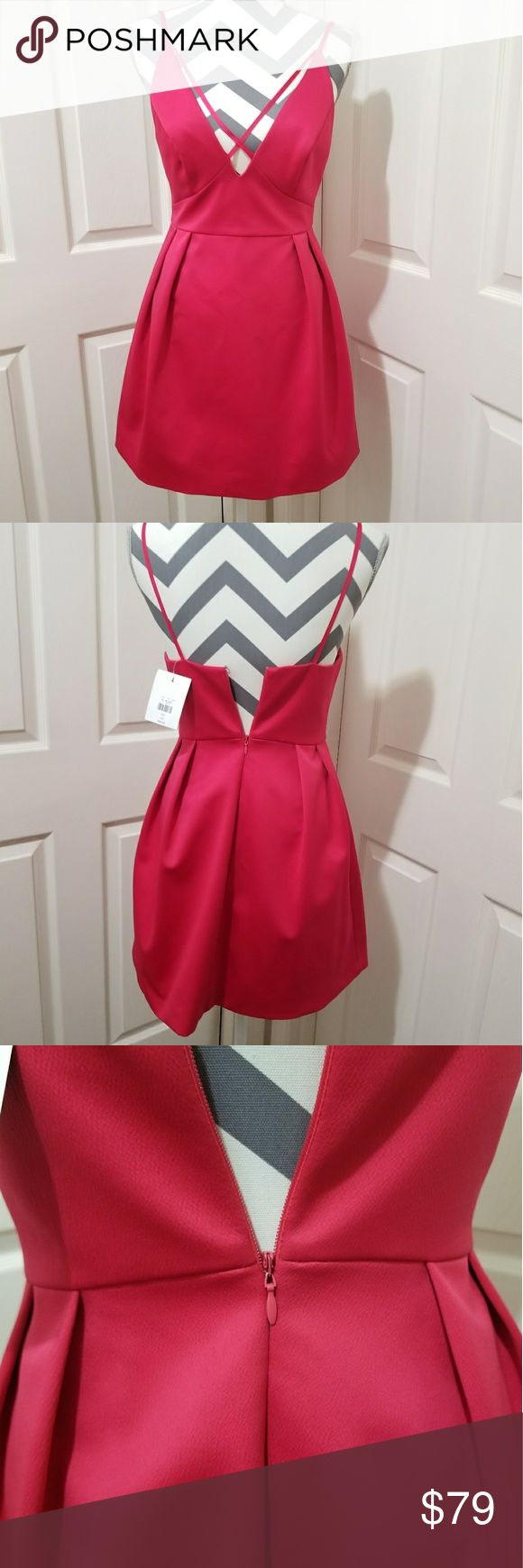 NWT* Stunning Satin V Line Plunge Dress* NWT* Stunning Satin V Line /Plunge Dress from Top Shop* Gorgeous & Prominent Pleats make this a head turning Dress* Color: Red *Wear it with style & class* Size: 4* Reasonable offers accepted* Bundle &  Save* Topshop Dresses
