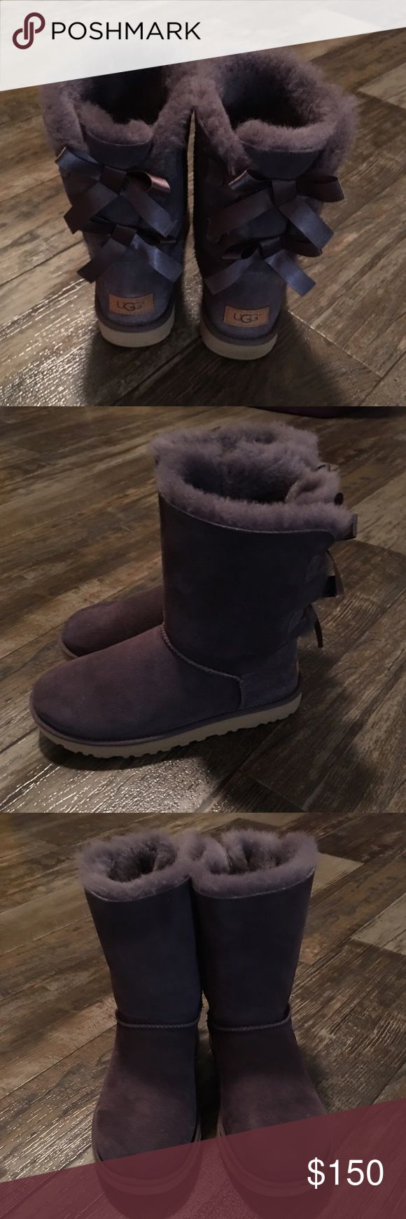 Authentic Uggs 100% Authentic Ugg Boots. Bailey Bow. Light Purple. Box available upon request. Purchased directly from Ugg store at Christmas. Runs big. Fits ladies 8.5. Looks brand new. Never been in snow or water. No stains or rips. UGG Shoes Winter & Rain Boots