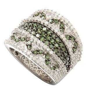 love cigar band rings! Sterling Silver 1 1/2ct TDW Diamond Wide-band Ring with green and white pave diamonds(H-I,I2-I3). A totally affordable price of $306.99