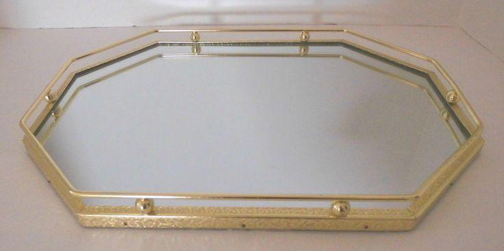 Vintage Mirror Vanity Tray Dresser Mirror Bright Yellow Gold Color Very Pretty Bedroom & Bathroom Mirror by flyingdollar on Etsy
