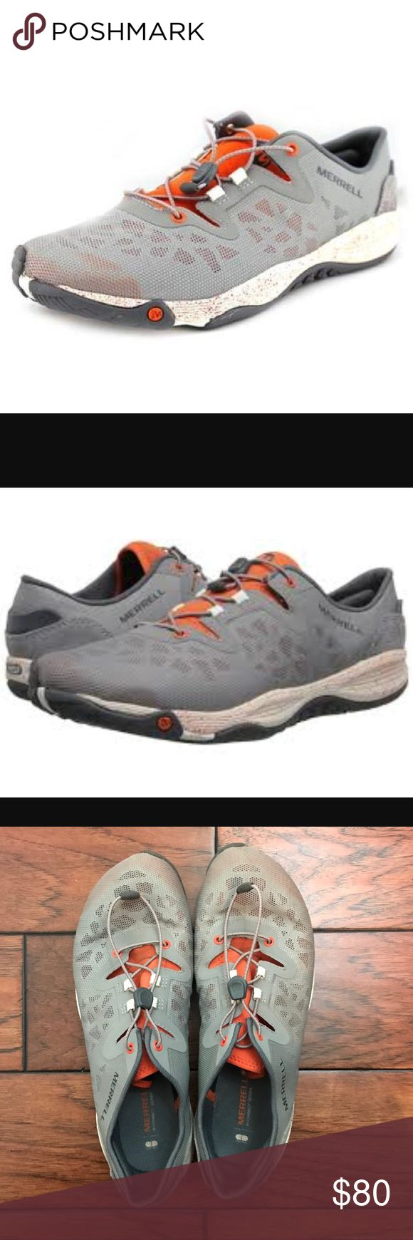Merrell All Out Shine Shoes Trail Walking Size 9 Excellent condition. No flaws. Look hardly worn! Merrells All Out Shine Wild Dove Shoes. Lightweight with a mesh upper. Drawstring type laces. Size 9. Merrell Shoes Athletic Shoes