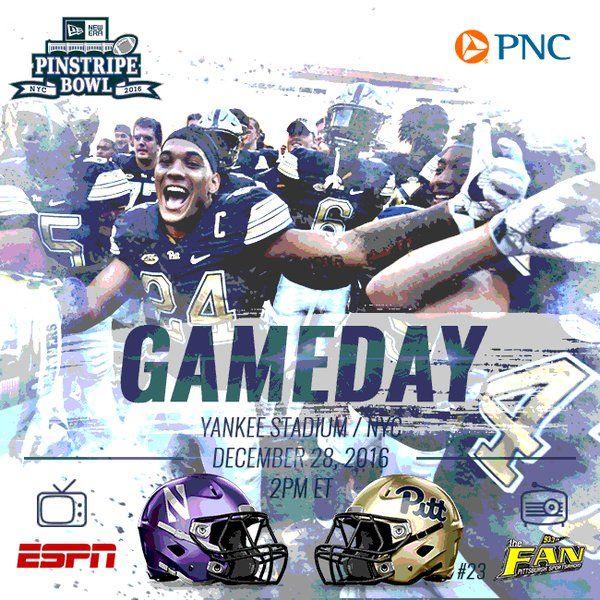 "Pitt Football on Twitter: ""It's GAMEDAY! #Pitt vs. @NUFBFamily @PinstripeBowl Yankee Stadium, NYC Kick: 2 p.m. TV: @ESPN Radio: @937theFan #H2P #BeatNorthwestern #Win9 https://t.co/0IMxu1ztMc"""