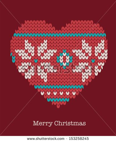 Christmas heart ornaments - seamless knitted background