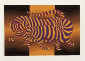 Two Tigers (orange) - (Victor Vasarely)