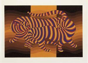 Two Tigers (orange) - (Victor Vasarely)