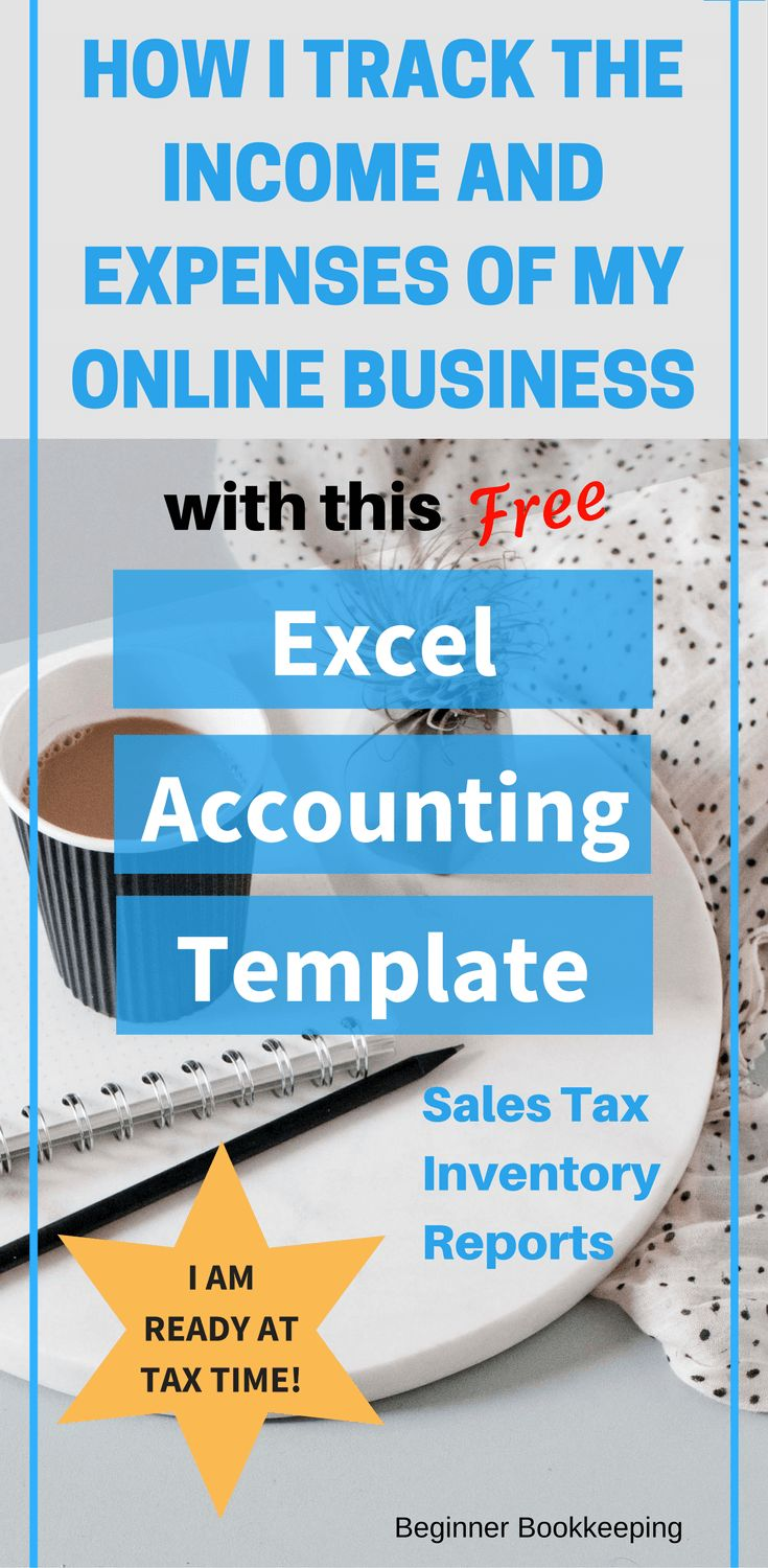 Accounting excel template for tracking small business income and expenses with sales tax features.
