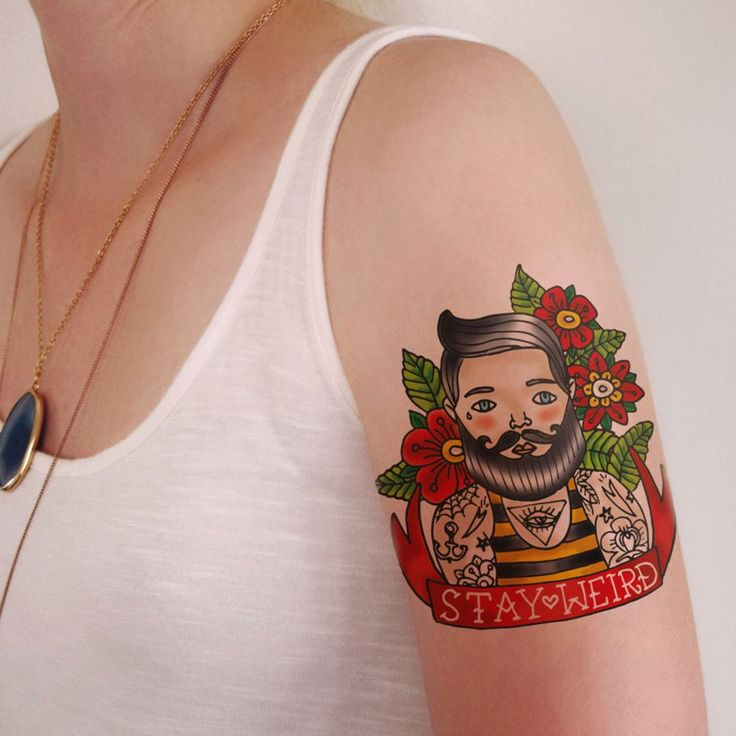 Old school man with beard temporary tattoo design 'Stay Weird'