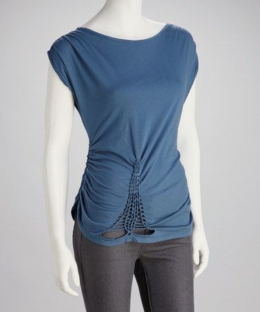 Take a look at this Blue Braided Boatneck Top - Women ...this looks like it could be a t-shirt redo.