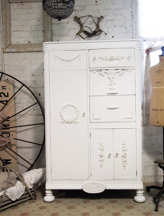 Painted cottage chic shabby white romantic armoire am235 painted cottage w - Armoire metallique vintage ...