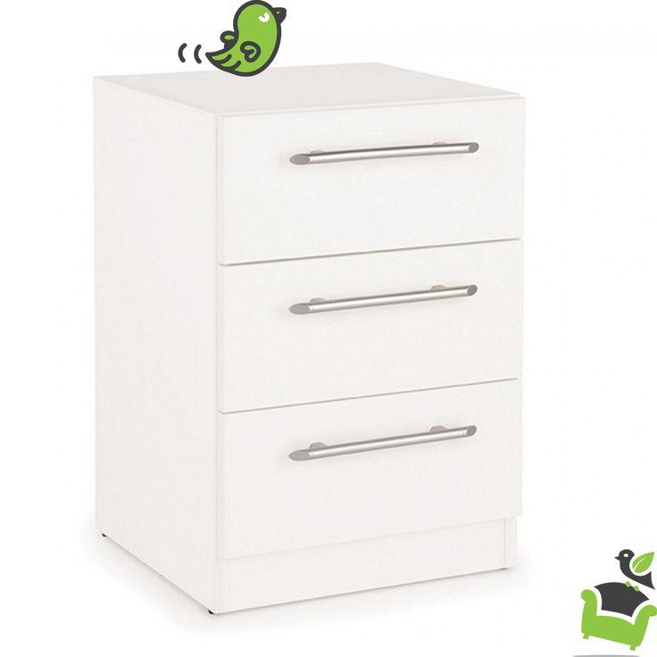 Connect Acton 3 Drawer Bedside Cabinet - White #Bedroom #bedsidetables