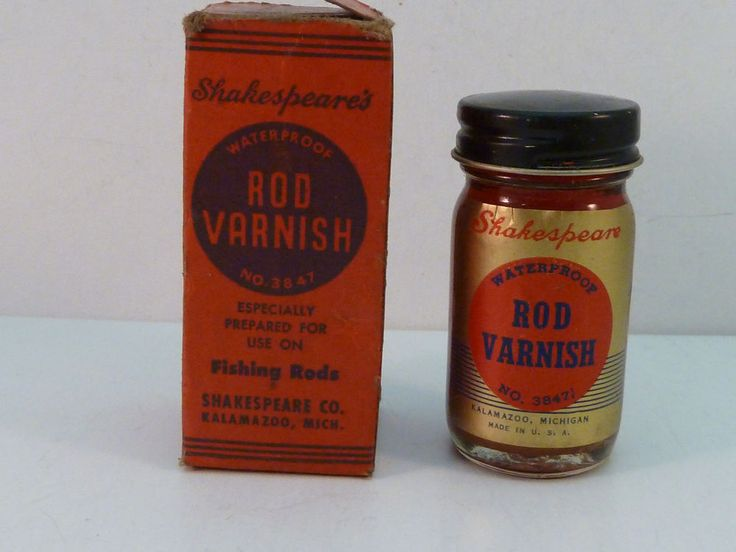 SHAKESPEARE ROD VARNISH VINTAGE BOTTLE IN ORIGINAL BOX for Split Bamboo Rods #Shakespeare