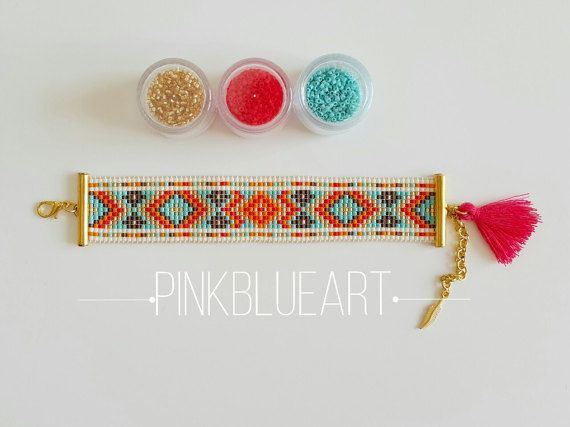 Bead Loom Bracelet Loom beaded Christmas Gifts by PINKBLUEART