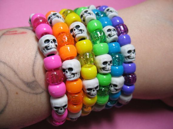 Skull Pony Bead Bracelet- something I sooo would have worn when I was a teenager!